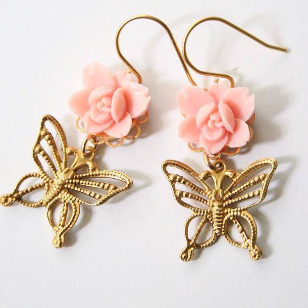 Pink butterfly earrings