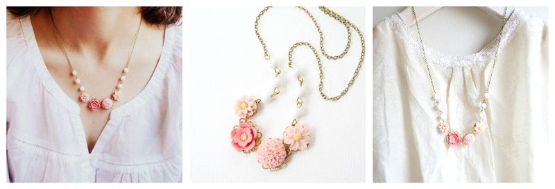 Pink flower necklace collage
