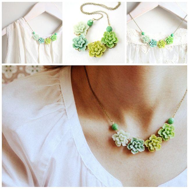 Garden green necklace  collage