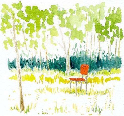 Miri red chair garden