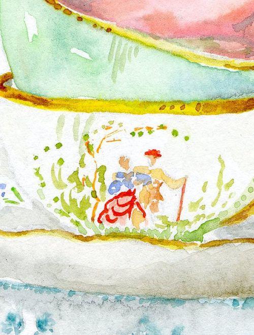 Miri tea cup oaintig detail